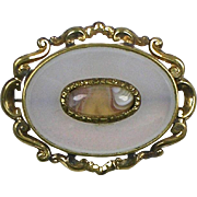 Victorian Pinchbeck GF Chalcedony Brooch Cabochon Agate Center  Beautiful Design  RARE