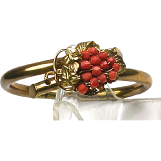 Stunning RARE Victorian Natural Coral Bangle Gold Filled   Double Hinge  Top Quality!!