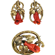 RARE Antique Victorian Salmon Coral Brooch & Earrings Set Hand Carved ~ Pinchbeck GF