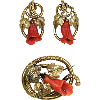 RARE Antique Victorian Salmon Coral Brooch & Earrings Set Hand Carved ~ Pinchbeck Rolled Gold