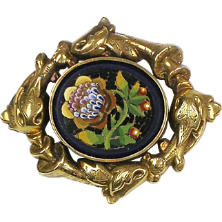 RARE Victorian Gold Micro Mosaic Pin Brooch  Repousse   Top Quality