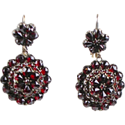 Antique Victorian 14K Gold Bohemian Garnet Drop Earrings  Lovely with Sparkle  Quality  RARE