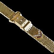 Stunning Retro 14K Gold Ruby Diamond Wrist Watch Bracelet  Buckle Design  Hidden Watch RARE