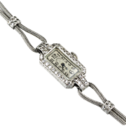 Art Deco Tiffany Platinum Diamond Wrist Watch  17 Jewels  Gorgeous