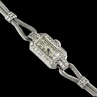 Art Deco Tiffany Platinum Diamond Wrist Watch  17 Jewels  Gorgeous