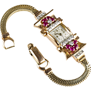 Retro 14K Rose Gold Ruby Diamond Wrist Watch Bracelet     Floral   Exquisite