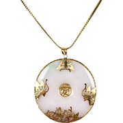 Vintage Chinese White Jade 14K Gold Large Round Pendant Necklace    Butterfly Design    On 19 inch Chain