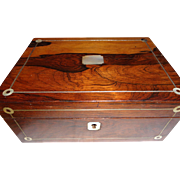 Antique English Rosewood Sewing Box 1860-1880