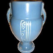 """Roseville Blue Vase """"Moderne"""" Pattern"""