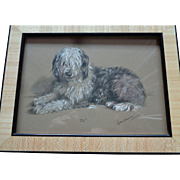 Lucy Dawson Hand-Colored Print of Sheep Dog, Signed 1930's