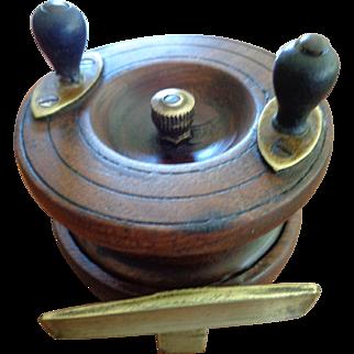 Vintage English Fishing Reel, Mahogany/Brass