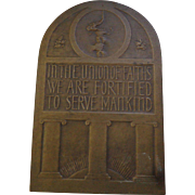 Bronze Judaica Plaque of Jeremiah 1938