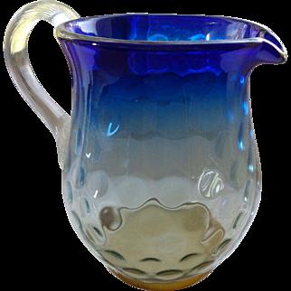 Antique Boston-Sandwich  Blueina Glass Pitcher 1820