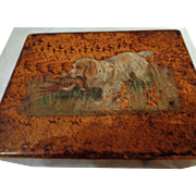 Vintage English Hand-Painted Dog Box