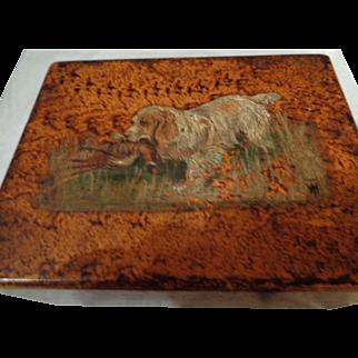 Vintage English Hand-Painted Dog Box