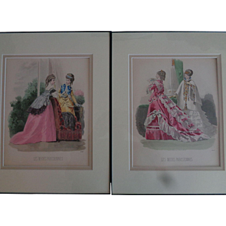 Antique French Fashion Prints 1869 Hand-Colored