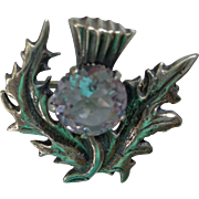Scottish Sterling/Amethyst Thistle Pin/Brooch