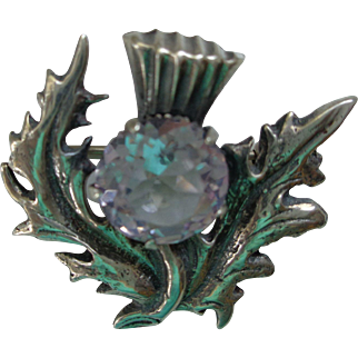 Scottish Sterling/Amethyst Thistle Pin/Brooch