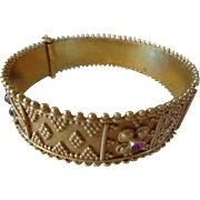 22K Solid Gold Bangle Bracelet with Rubies