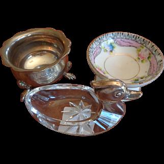 Three Little Salts: Sterling, Crystal, Porcelain