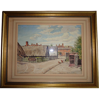 Vintage English Watercolor, Signed 1930's