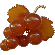 Amber and Gold Grape Cluster Pin/Brooch