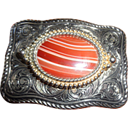 Silver and Agate Belt Buckle