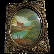 Scottish Oil Painting in Brass Frame 1900