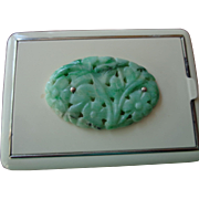 Art Deco Jade & Enamel Compact 1920
