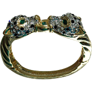 Panther Bangle Bracelet in rhinestones/gold