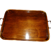 Vintage Mahogany and Brass Gallery Tray 1900's
