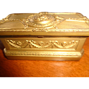 Magnificent Antique French Gilt Bronze Desk Accessory Stamp Box lined in Satinwood 1900