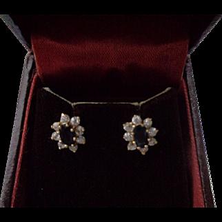 Lovely Diamond and Sapphire Earrings 14K Gold