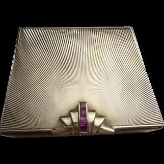 14K Gold Art Deco Tiffany Box with Rubies 110 g