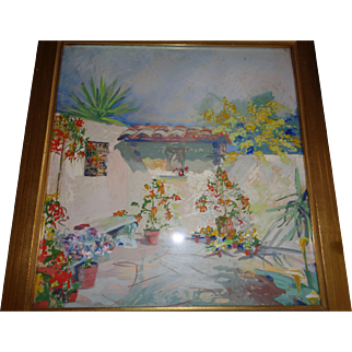 Southwest American Oil Painting in Tempera (Sante Fe) by Artist Elna Derbyshire (1895-1962)