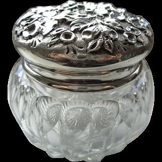 Vintage Repousse S. Kirk & Sons Sterling Top and Crystal Vanity Jar