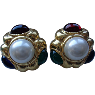 Big, Bold, Beautiful Designer Earrings with Pearls and Stones by Ciner
