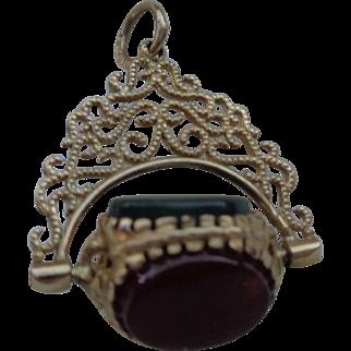 Three Semi-Precious Stone English Roller Fobs on Pendant in 9 Carat Gold