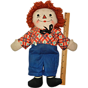 """Excellent 12"""" Georgene Black Outline Nose Awake Asleep Raggedy Andy Doll"""