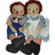 "Early 32"" Black Outline Nose Georgene Raggedy Ann and Andy"