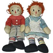 "Early Handmade Pair of 19"" Raggedy Ann and Andy Dolls"