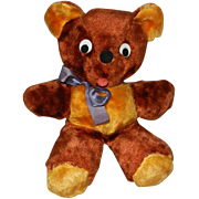 "Cute 12"" Vintage Plush Teddy Bear with Original Ribbon"