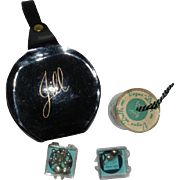 Vogue Jill Doll Black Patent Hatbox, Stockings, & Jewelry in Original Containers