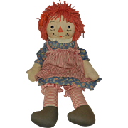 "23"" Rare 1940's Georgene Silsby Raggedy Ann with Red Striped Apron & Bloomers"