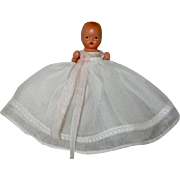 """Bisque Nancy Ann Storybook Doll 3 1/2"""" #70 Christening Baby Doll - Red Tag Sale Item"""