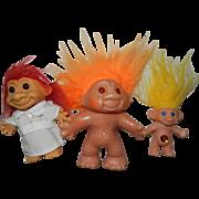 3 Cute Vintage Troll Dolls, Dam & Russ