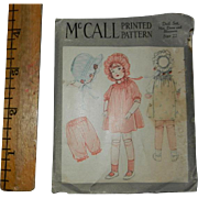"""Rare Uncut 1920's McCall's Doll Pattern (Dress, Bonnet, Bloomers) for 22"""" Bisque Doll"""