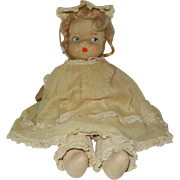 "1930's 12"" Cloth Doll with Sateen Hand Painted Face in Original Clothes"