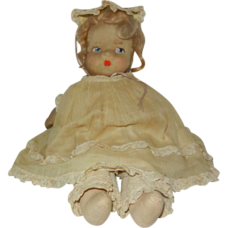 """1930's 12"""" Cloth Doll with Sateen Hand Painted Face in Original Clothes"""