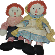 """Vintage Handmade 19"""" Raggedy Ann and Andy Dolls"""